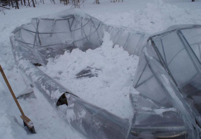 Очистка от снега теплиц
